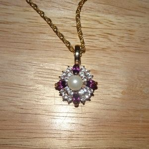 Unbranded Jewelry - Faux Amethyst~Pearl Rhinestone Pendant Necklace